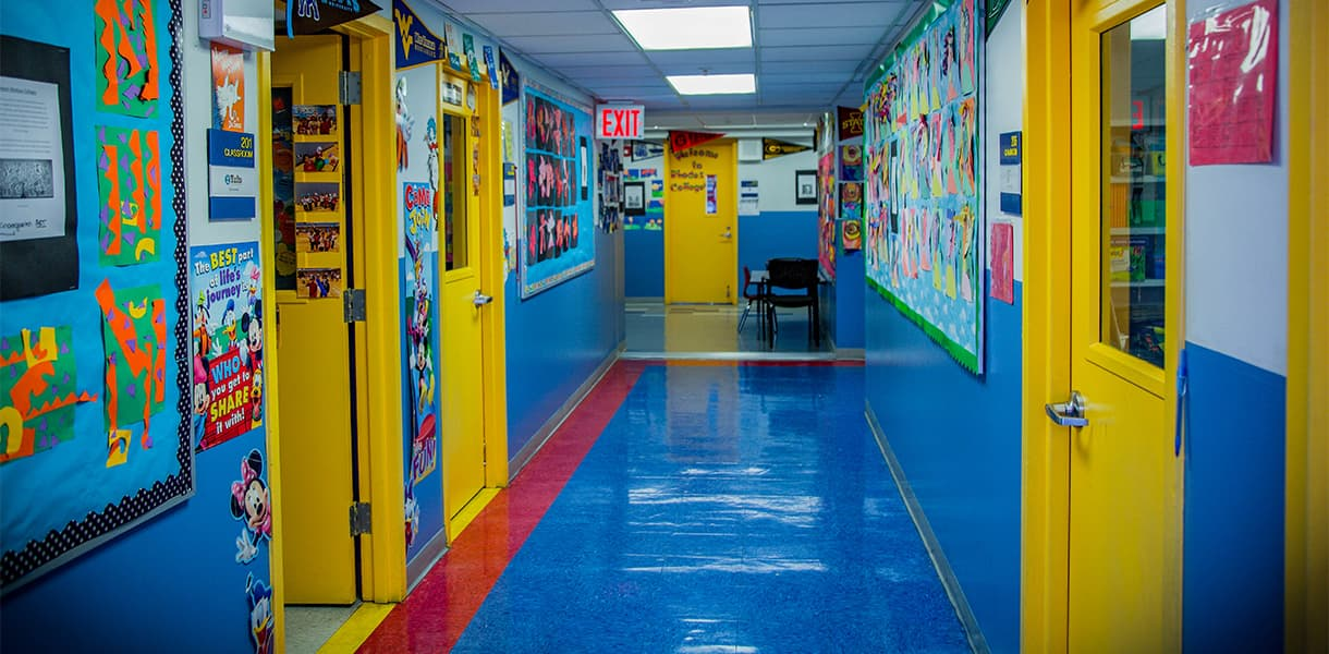 School hallway with bright colors